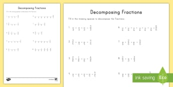 Decomposing Fractions Worksheet / Activity Sheet  - craft, fractions, decomposing fractions, adding fractions, subtracting fractions, worksheet, fourth