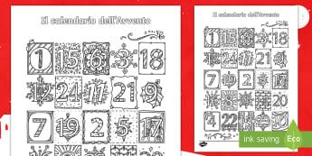 Calendario dell'Avvento elegante da colorare  - festivo, colori, natalizio, natale, italiano, italian, materiale, scolastico