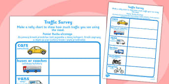 Traffic Survey Worksheet Polish Translation -  cars, vehicles, traffic, transport, roads, count, survey, data, handling