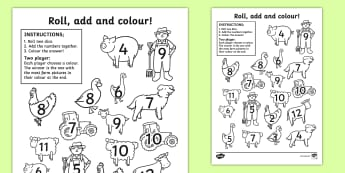Farm Roll and Colour Worksheet / Activity Sheet