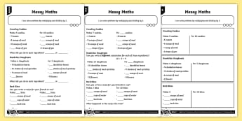 Multiplication and Division Differentiated Activity Sheets - Multiplication and Division, doubles, halves, multiply and divide by two, scaling, problem solving,