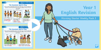 Year 1 English Revision Morning Starter Weekly PowerPoint 3 - mornig starter, starter, revision, revise, Y1, Spelling, Grammar, Reading, Writing, SPaG
