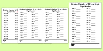 Dividing Multiples of 10 by 1 Digit Numbers A5 Activity Sheet - dividing, multiples, 10, 1 digit, numbers, activity, sheet, worksheet