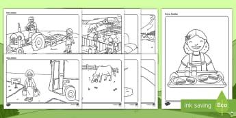 Bileoga Dathúcháin: Feirm Daideo - Bileoga dathúcháin: feirm daideo, grandad's farm colouring pages, feirm daideo, Scéal, Story, S