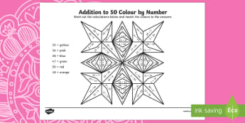 Rangoli Patterns Addition to 50 Colour by Number - rangoli pattern, rangoli, pattern, diwali, hinduism, hindu, addition, 50, addition to 50, add, colour by number, colour, number