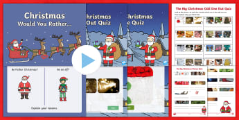 KS1 The Big Christmas Quiz PowerPoint Pack - would you rather, odd one out, mystery object, picture quiz, y1 and y2