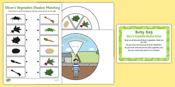 Olivers Vegetable Shadow Match Busy Bag Prompt Card and Resource Pack