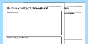 SEN Information Report Planning Frame Secondary PDF - sen, information, report planning, report, plan, frame, secondary