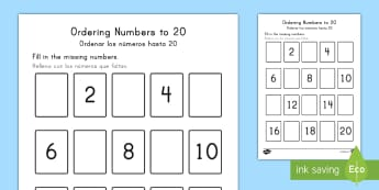 * NEW * Missing Numbers to 20 Ordering Activity US English/Spanish (Latin) - Priority Number Ordering Sheets, numbers, 20, twenty, primary, practice, maths, counting, elementary