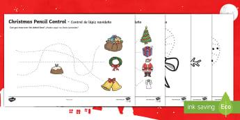 * NEW * Christmas Pencil Control Activity Sheets - English / Spanish  - EAL, Christmas Pencil Control Sheets - christmas, pencil control, sheets, pencil, control,pencilcont
