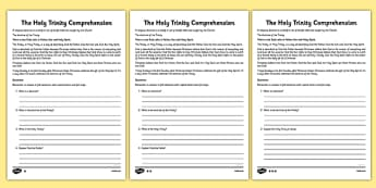 The Holy Trinity Differentiated Reading Comprehension Activity - Trinity, Holy Trinity, Christian, Christianity, God, Jesus, Father, Son, Holy Spirit, three in one, Trinity Sunday, doctrine