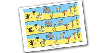 Handa's Surprise Display Borders - Handa's Surprise, Eileen Browne, resources, Handa, Akeyo, mango, guava, Africa, avacado, passion fruit, monkey, African animals, story, story book, story book resources, story sequencing, story resources, Display bo