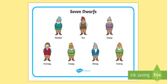 Snow White and the Seven Dwarfs Word Mat (Dwarfs) - Snow White and the Seven Dwarfs, Snow White, Dwarfs, Seven Dwarfs, traditional tale, word mat, writing aid, mat, tale, magic mirror, the queen, prince, forest, old hag, poisoned apple, kiss, asleep