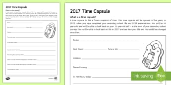 2017 Transition Time Capsule Worksheet / Activity Sheet - Secondary Transition Resources, time capsule, chronology, history, pastoral, future, 2022, leavers,