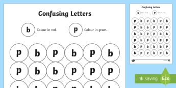 Confusing Letters b and p Worksheet / Activity Sheet - CfE, Literacy, letters, writing , reading, Scottish, p and b, worksheet