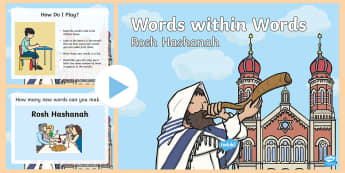 KS1 Rosh Hashanah Words within Words Game PowerPoint - Spellings, New year, Jewish, Create, Reflection, vocabulary, key words, judaism