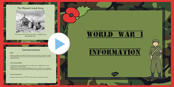 World War One Information PowerPoint - world war one, world war 1, ww1, world war I, world war 1 powerpoint, world war one information, ww1 powerpoint