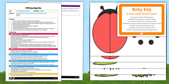 EYFS Do I Have Wings? Do I Have Spots? Busy Bag Plan and Resource Pack - Minibeasts, creepy crawlies, bugs, wings, spots, legs, antennae, shell, body