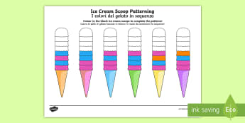Ice Cream Scoop Repeating Patterns English/Italian - Ice Cream Scoop Repeating Patterns - ice cream scoop, repeating pattern, repeat, pattern,patterms,pa