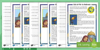 Eid al-Fitr Differentiated Reading Comprehension Activity - Eid al-Fitr, Kingdom, Bahrain, Comprehension, Activity
