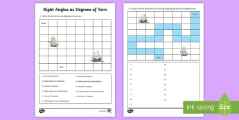 Right Angles as Degrees of Turn Activity Sheet - Learning from Home Maths Workbooks, angles, 90 degrees, maze, turn, angles as turn, position and dir