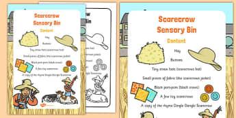 Scarecrow Sensory Bin - senses, PSHE, feel, touch, describing, speaking and listening