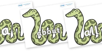 100 High Frequency Words on Snakes - High frequency words, hfw, DfES Letters and Sounds, Letters and Sounds, display words