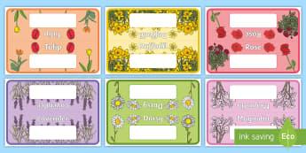 Flower Table Signs - Flower Table Signs - flowers, group, table, signs, display, table signs, garden, tabel signs, talbe
