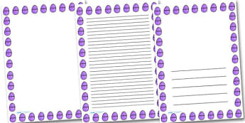 Purple Easter Egg Portrait Page Borders- Portrait Page Borders - Page border, border, writing template, writing aid, writing frame, a4 border, template, templates, landscape