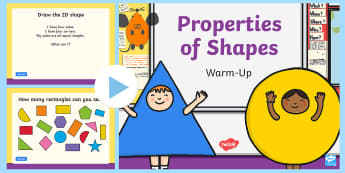 Year 2 Properties of Shape Warm-Up PowerPoint - KS1 Maths Warm Up Powerpoints, warm up, Identify and describe the properties of 2D shapes, including