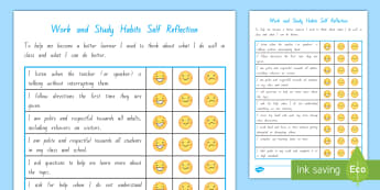 Work and Study Student Self Assessment Checklist - Student Self Assessment toolswork and study habitslearning reflectionsgoal settingportfolioslearning
