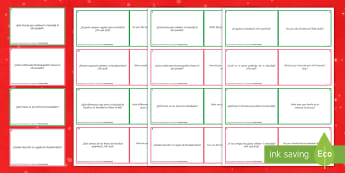 General Conversation Christmas Question Double-Sided Cards Spanish - Speaking, Describing, Customs, Festivals, Celebrations, GCSE