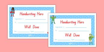 Handwriting Hero Certificate Boys Girls NZ Font - nz, new zealand, handwriting hero, certificate, boys, girls, handwriting, hero