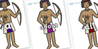 100 High Frequency Words on Egyptian Archers - High frequency words, hfw, DfES Letters and Sounds, Letters and Sounds, display words