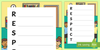Respect Acrostic Poem - New Zealand Back to School, respect, relationships, class culture, back to school, first week back,