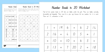 Number Bonds to 20 Word Search - New Zealand, maths, adding, addition, numbers to 20, number bonds, Years 1-3, age 5, age 6, age 7, n