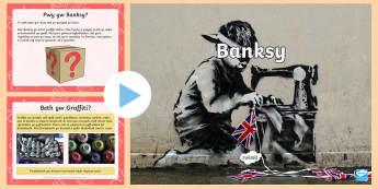 Pŵerpwynt Banksy - Welsh, graffiti, artist stryd, banksy, celf, stensiliau, CA2, Cymraeg, iaith, pynciau, artist, llawr