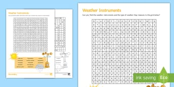 Weather Instrument Wordsearch Activity Sheet - Weather, Weather Instruments, Thermometer, Anemometer, Wind vane, Barometer, Temperature, Rain Gauge