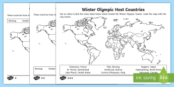 KS1 Winter Olympics Host Countries Differentiated Activity Sheet - 2018 Winter Olympics, Pyeonchang south korea, mapping, countries, around the world, worksheet