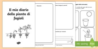 Il mio diario della pianta di fagioli Opuscolo - scienze, esperimento, fagioli, classe, italiano, italian, materiale, scolastico