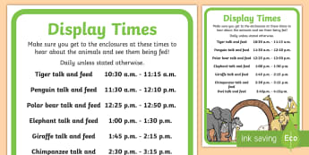Zoo Times Display Sign - zoo, role-play, sign, display times, pretend, animals,