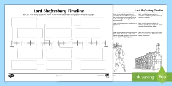 Lord Shaftesbury Timeline Activity Sheet - CfE, Victorians, social reform, factory act, ragged schools, worksheet, people in past societies, ph