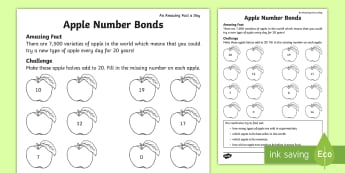 Apple Number Bonds Activity Sheet - number bonds to 20, KS1, addition, counting, missing numbers, total, worksheet