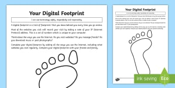 Your Digital Footprint Activity Sheet - computing, e-safety, email, facebook, social media, online, safety, internet