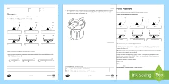 Moments Activity Sheet - Homework, force, forces, moments, newton, newton-metre, perpendicular distance, fulcrum, pivot, turn