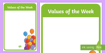 Values of the Week Display Posters  - Star Of The Week Decorative Posters - star of the week, poster