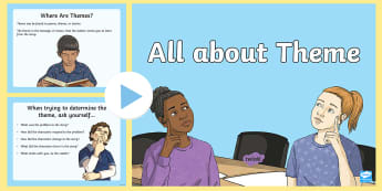All About Theme PowerPoint - Theme, Moral, Message, Lesson, Fables, Reading, Literature, Comprehension