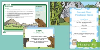 Bears Small World Play Idea and Printable Resource Pack - Bear, Polar Bear, Brown Bear, Grizzly Bear, Animals, Science, Imaginary play, sensory play