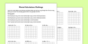 Mental Calculations Challenge - mental maths, mental, calculations, challenge