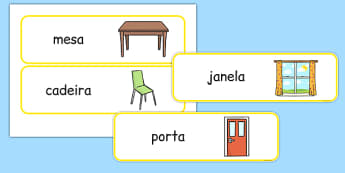 Classroom Furniture labels Portuguese - portuguese, classroom, furniture, labels